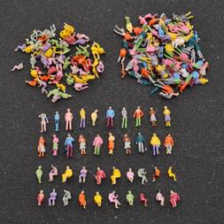 100 pcs Painted Mini People Figures 1:100 Scale Painted Trai