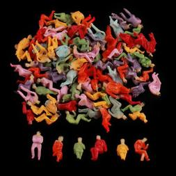 100pcs HO Scale All Seated Painted People Figures 1:100 Mode