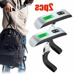 2pcs Hand Held Digital Luggage Hanging Scales 110lb / 50kg H