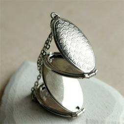 4 Containers Silver Fish Scale Oval Photo Locket Pendant Mem
