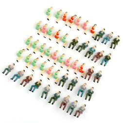 50pcs 1:50 O Scale Painted Train Seated People Model Figures
