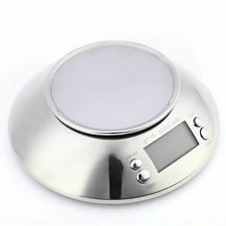 5kg 11lb Stainless Steel Digital Kitchen Food Bowl Scale wit