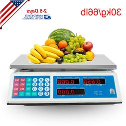 66Lbs Digital Weight Scale Price Computing Retail Food Meat