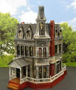 ADDAMS FAMILY HOUSE~HAUNTED HOUSE~HO SCALE BUILT BUILDING~ M