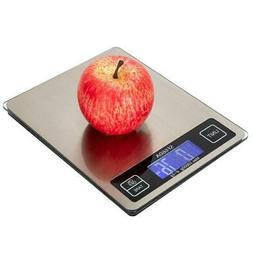Digital Kitchen Scale 22lb/0.05 oz 10KG/1G LCD Stainless Ste