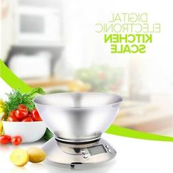 Digital Stainless Steel Food Bowl Kitchen Scale Weight Gram
