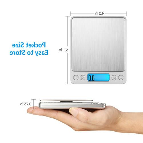 Digital Scale 3000g 0.1g LCD Silver Coin Kitchen + Battery