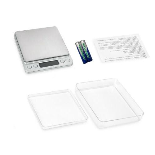 Digital Scale 3000g x 0.1g LCD Silver Kitchen Weigh + Battery