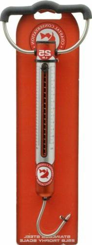 CCA 25 lb Stainless Steel Trophy Spring Scale W/Handle, Hook