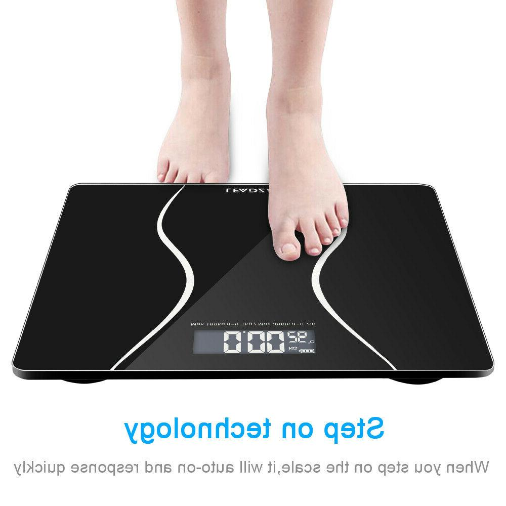 397lb 180kg LCD Bathroom Body Weight Tempered Glass + 2x Batteries