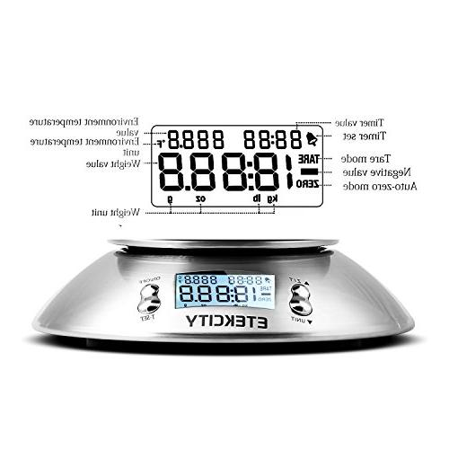 Etekcity Digital Multifunction Scale with Removable Bowl Volume Temperature and Timer, 5kg, LCD