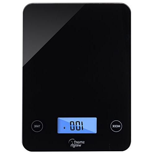 Smart Weigh Digital Glass Top Kitchen and Food Scale, 5- Uni