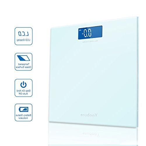 400lb Body Bathroom Scale with Glass Platform Advanced Step-On Technology Large Backlit Scale