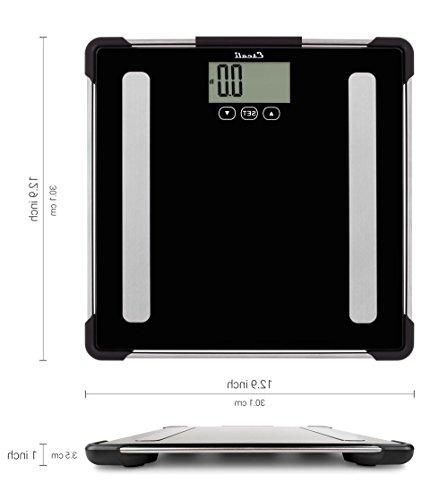 Escali Analyzing Bathroom Scale Composition for Measuring Weight, Body Fat, Mass - ltd. - BF180 -