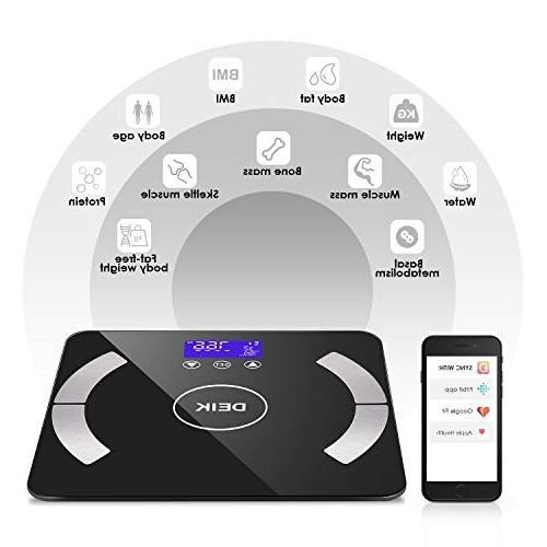Deik Body Scale, Smart Bathroom Scale with IOS Android App Composition 8 Auto Recognition, including 3 Batteries, 180kg/400lb, FDA Approved
