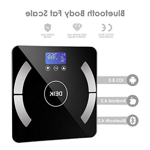 Deik Bluetooth Body Fat Scale, Smart Scale Android for Auto Recognition, Batteries,