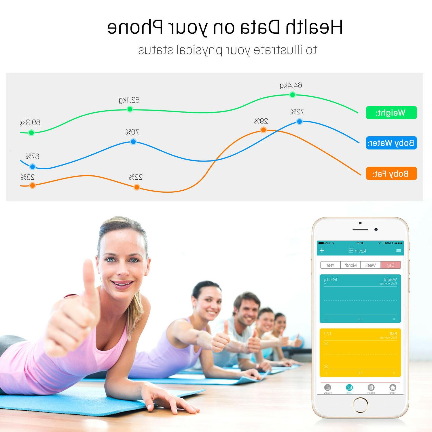Bluetooth Smart Scale Digital Bathroom Scale BMI