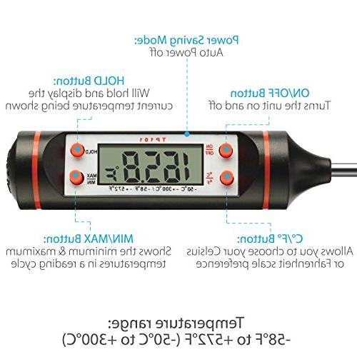 Fosmon Cooking Thermometer, Digital Meat with Probe LCD Screen for Food, BBQ, Grill,