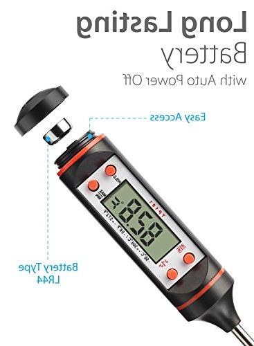 Fosmon Thermometer, Meat Thermometer Instant with Probe & for BBQ, Oil