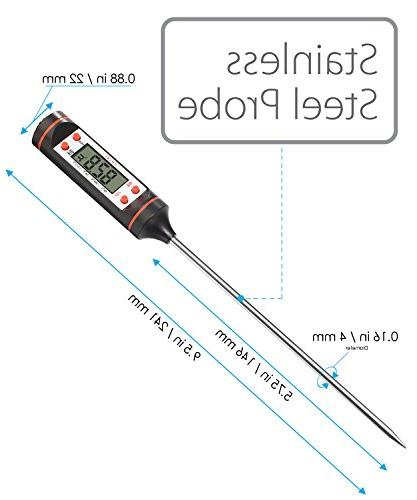 Fosmon Cooking Thermometer, Meat Thermometer Instant with Long Stainless Probe & LCD Screen for Meat, BBQ, Oil