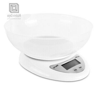 Digital Kitchen Food Scale Bowl & 2x AAA Batteries