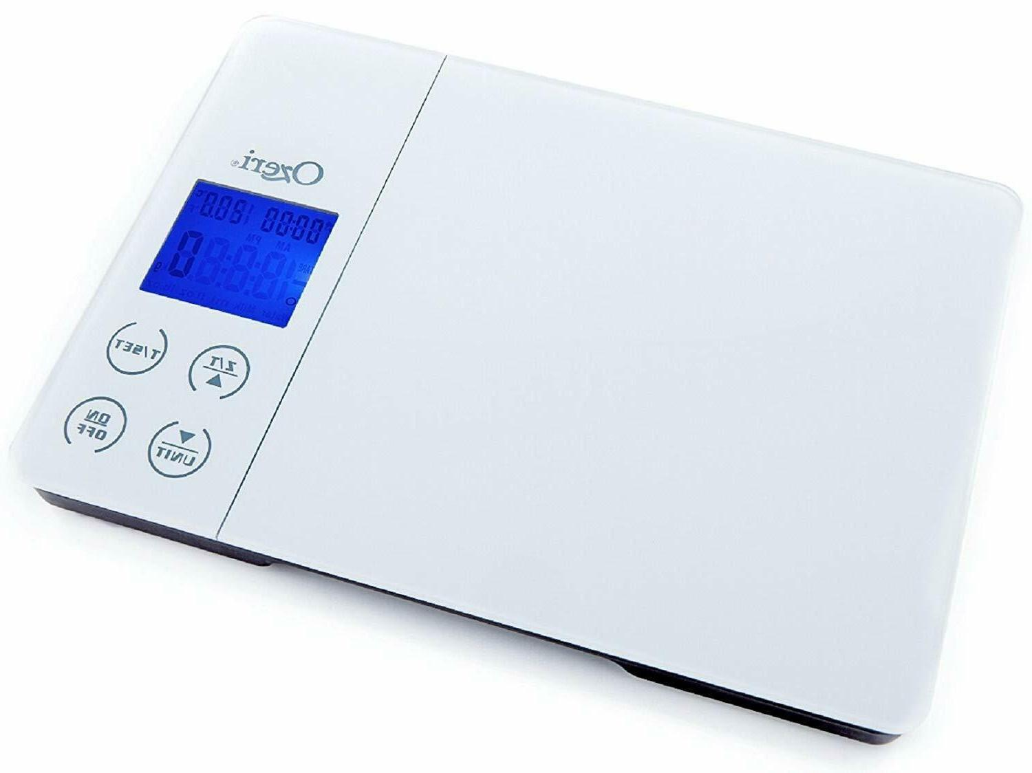 Gourmet Digital Kitchen Scale in Tempered Glass Timer, Alarm