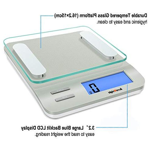 AccuWeight 207 Multifunction Scale for Cooking LCD with Measuring,Tempered Glass, 0, Silver