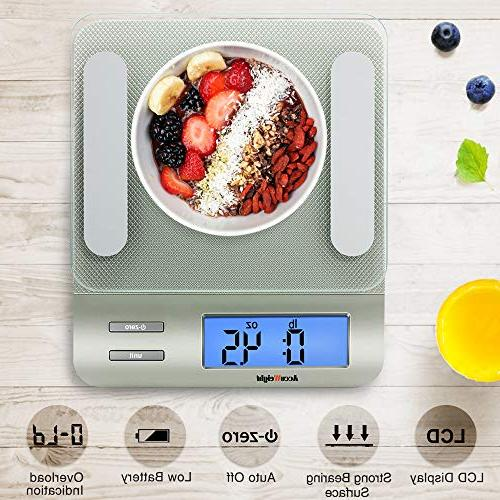 AccuWeight Digital Multifunction Scale Cooking with Large LCD to Clean with Precision Glass, 0,