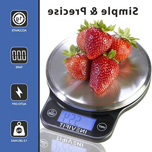 INEVIFIT Highly Accurate Multifunction Food Scale 13 Max, with Stainless Finish. & 5-Year