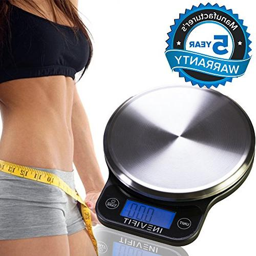 INEVIFIT DIGITAL KITCHEN Highly Accurate Multifunction Food Scale 13 Max, Clean Modern with Finish. Includes Batteries 5-Year