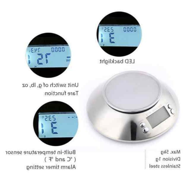 LCD Steel Kitchen Scale Temperature