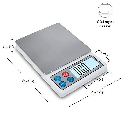 Toprime Digital Mini Size Food 600g Precision Pocket Tray, Stainless Steel, Convert Unit - White