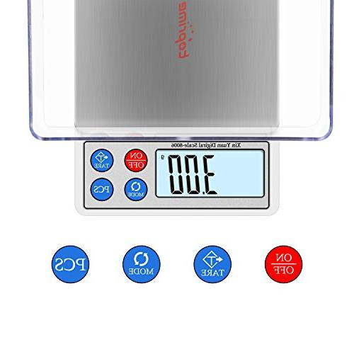 Toprime Digital Mini Size Food 600g Precision Tray, Stainless Convert