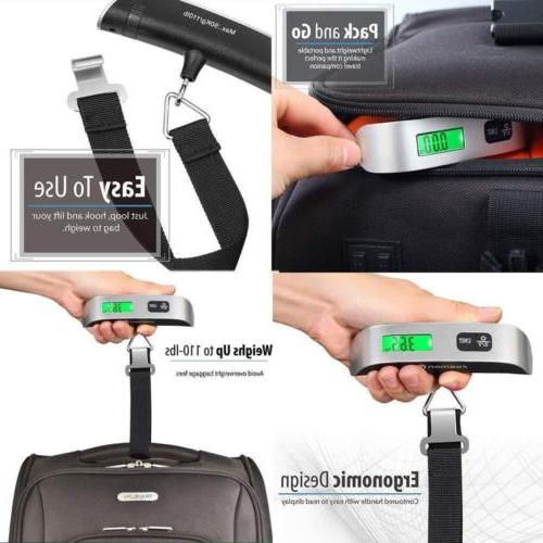 Portable Digital Scale LCD Display Hook Hanging Weight 110lb/50kg
