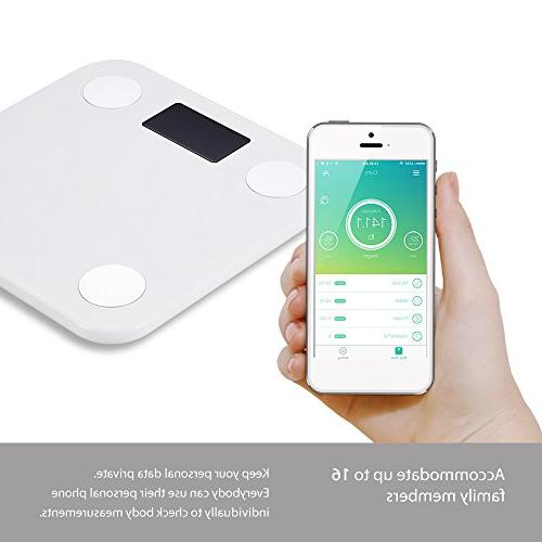 Yunmai Bluetooth Body Fat Weight Scale with APP Body Composition Monitor Display, Work 8/iPhone