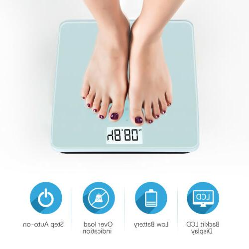 Electronic Digital Body Weight Bathroom Scale w/Battery Tempered Glass