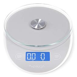 Nourish Digital Precision Kitchen Scale, Large Glass Top and