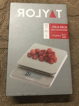 Taylor Silver Glass Digital Kitchen Scale 11pd/5kg Capacity