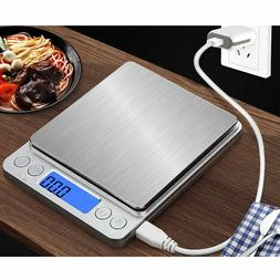 New 3/2/1/0.5KG 0.1g USB Rechargeable Digital Scale Food Kit