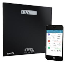 A&D Medical Wireless Connected Weight Scale, Black